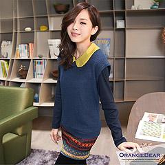 【秋日發燒精選】 玩美視覺~撞色領彩色圖紋裙兩件式洋裝‧2色