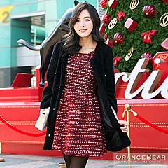 1029新品 冬戀耶誕~彩條紋混金蔥粗花呢背心洋裝‧2色