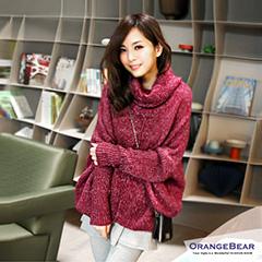 暖和舒適~混色鬆高領嚴選厚針織上衣‧4色