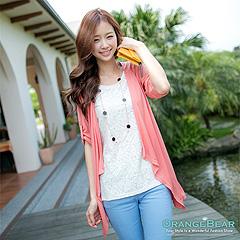 0703新品 溫柔輕甜~布蕾絲反折袖假兩件式長版上衣‧2色