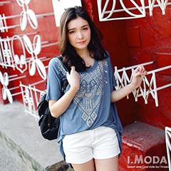 0916新品 個性時尚~亮片裝飾前短後長棉質長版上衣‧3色
