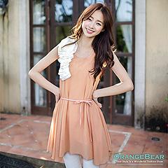 【大碼女孩專屬】優雅肩花造型雪紡無袖洋裝‧2色