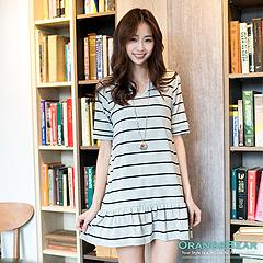 0925新品 好感甜心~橫條紋/素面小V領甜美裙襬洋裝‧3色