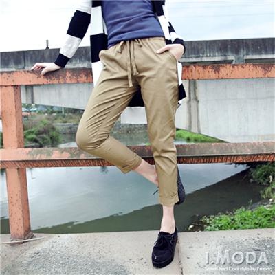 【春夏斷碼♥2件59折】率性俐落~親膚棉料腰頭綁帶反折九分褲‧4色