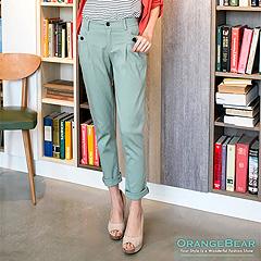0918新品 個性新作~百搭淺色系釦飾口袋打摺長褲‧3色
