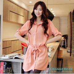 1021新品 率性俐落~附腰帶反折袖半開襟洋裝‧3色