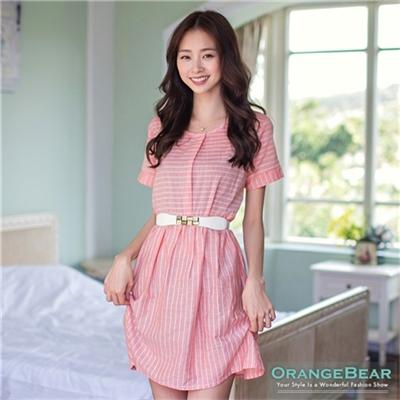 清新美好~海洋風細橫條紋打摺高腰洋裝•2色