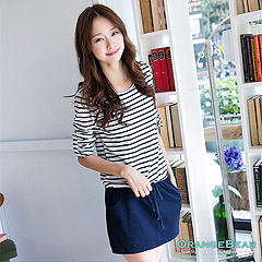 0916新品 自然調性~反折袖釦橫條紋拼接腰抽繩連身洋裝‧3色