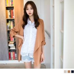 0401新品 輕巧穿搭~輕盈俐落感翻領開襟反折袖長版外套‧3色