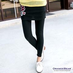 0925新品 率性作風~美式拼布徽章裙擺假兩件式內搭褲‧3色