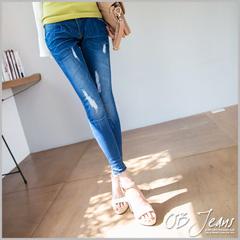 0617新品 韓系俏妞~嚴選韓版撞色皮革飾破損感刷色牛仔窄管褲