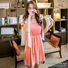 0929新品 小淑女風~滿版圓點幾何小印花縮腰圓領洋裝‧2色