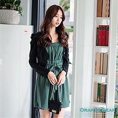 0820新品 超值推薦~點點細肩帶公主袖小外套兩件式嚴選洋裝.3色