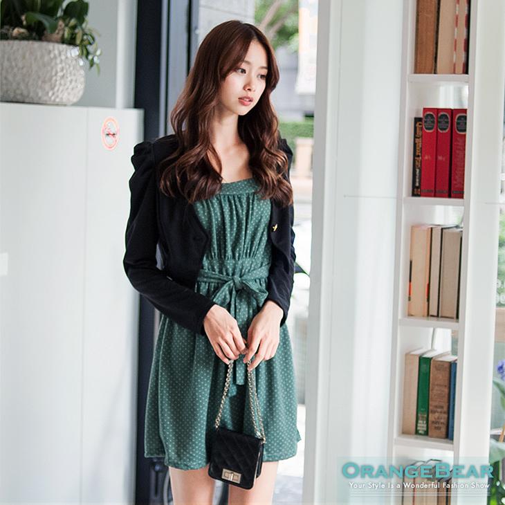 1124新品 超值推薦~點點細肩帶公主袖小外套兩件式嚴選洋裝.3色