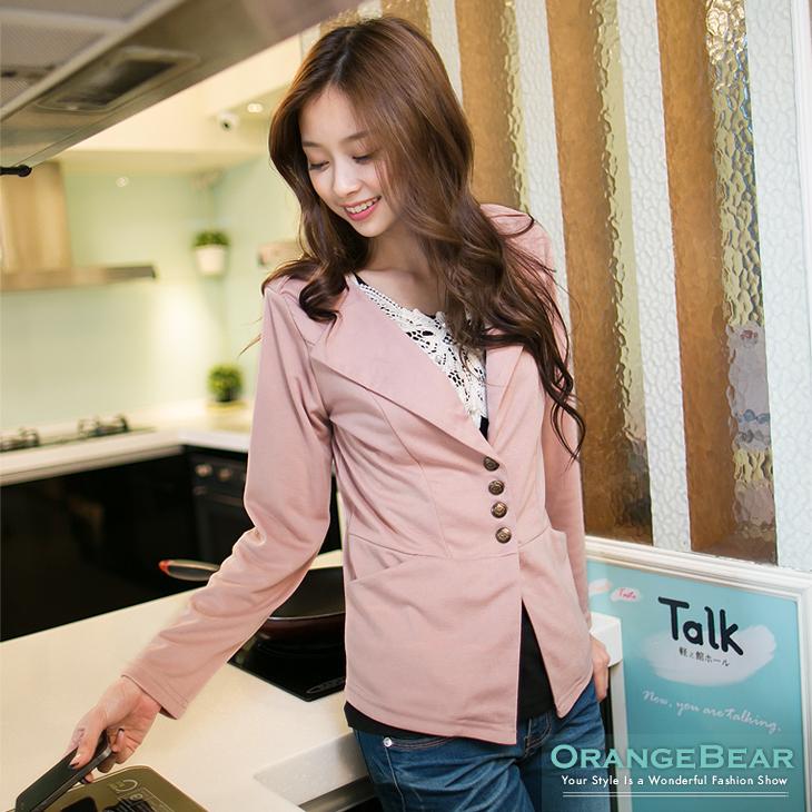 0926新品 品味時尚~開襟V領造型釦西裝外套?2色