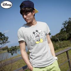 【迪士尼‧繽紛仲夏】純棉/情侶款系列~千鳥格字母米奇T恤‧男3色
