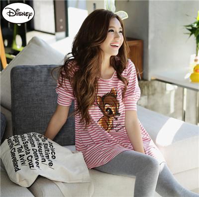 0514新品 迪士尼柔棉系列~小鹿斑比條紋公主袖長版上衣‧女2色