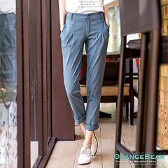1021新品 俐落打扮~立體顯瘦彈力棉質打褶長褲.3色