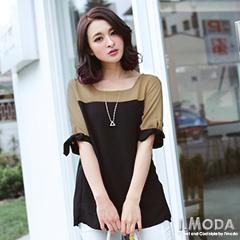 1024新品 淑女品味~氣質綁帶造型袖口撞色拼接上衣‧2色