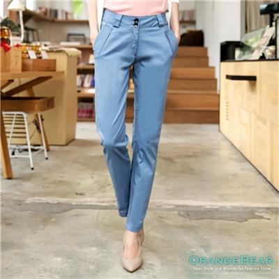 0803新品 午後輕閒~時尚雙釦彈力休閒長褲.3色