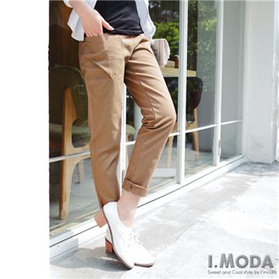 0425新品 造型口袋反折寬直筒褲.4色