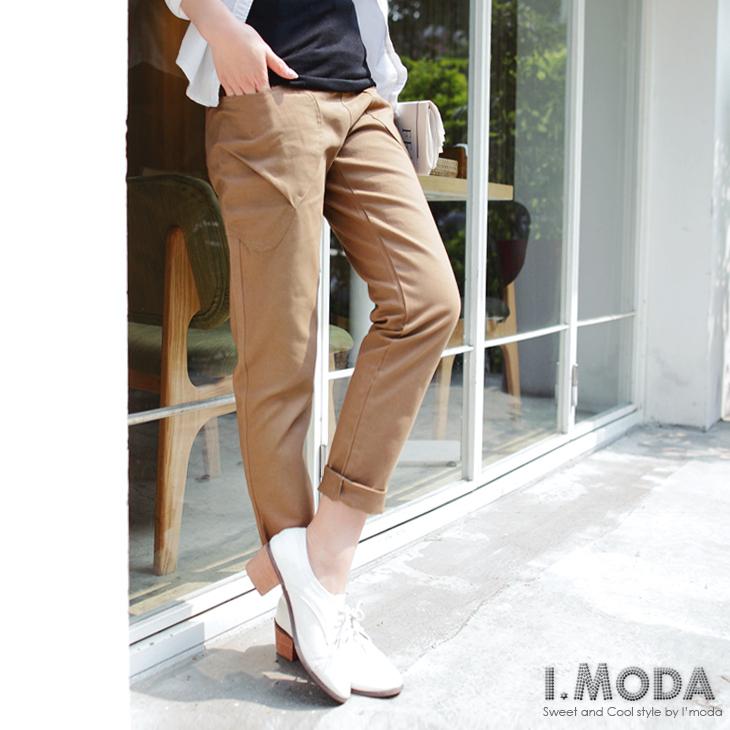 0425新ob顯瘦褲品 造型口袋反折寬直筒褲.4色