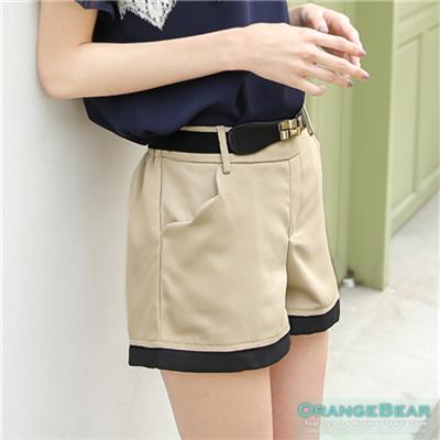 【春夏斷碼♥2件59折】時尚話題~蕾絲綴飾後口袋撞色滾邊短褲‧3色