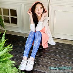 【春氛特賣】滿版小圓點抽繩綁帶輕透感內搭褲‧2色
