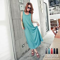 0604新品 品味生活~圓領後蕾絲無袖背心式長洋裝‧5色