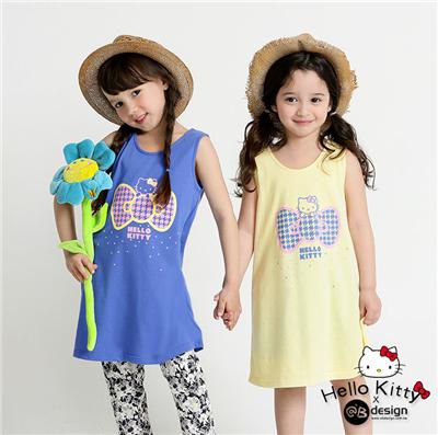 0616新品 KITTY柔軟快乾棉~千鳥系列蝴蝶結洋裝‧童3色