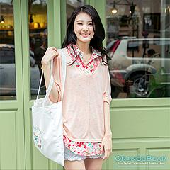 【夏日特賣】 好感氣質~花朵/圓點襯衫領兩件式長版上衣‧2色