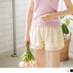 0916新品 甜美Lena~彈性腰圍布蕾絲短褲‧2色