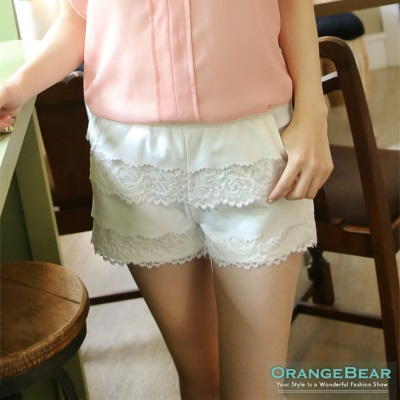 甜美至上~蕾絲雪紡多層拼接蛋糕短褲‧2色
