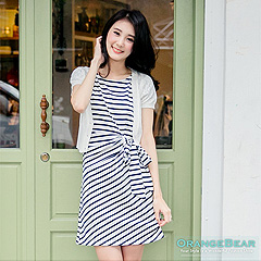 0925新品 簡約氣質~橫條紋/素色側綁帶造型洋裝‧3色