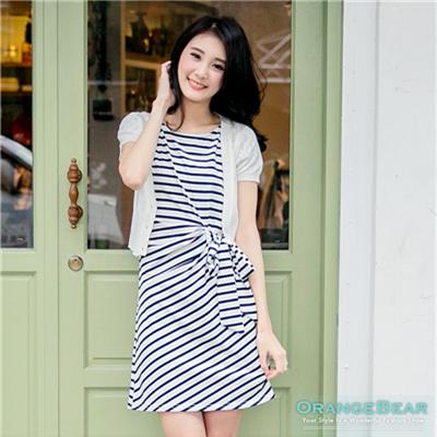 0925新品 簡約氣質~橫條紋/素色側綁帶造型洋裝•3色