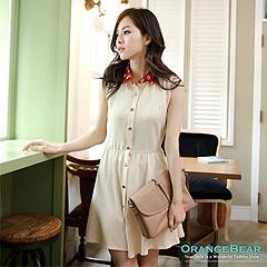 【午茶時光♥洋裝均一價】 小花朵撞色領排釦無袖洋裝‧2色