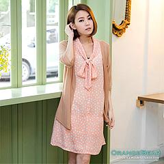 【午茶時光♥洋裝均一價】綁帶造型撞色圓點假兩件式洋裝‧2色