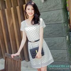 0929新品 小淑女風~圓點/碎花圖案網布層次雪紡洋裝‧3色