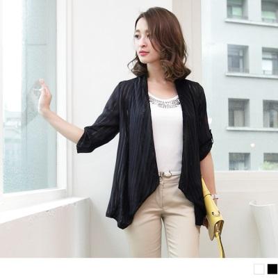 0921新品 時尚美感~蕾絲拼接直條紋透膚雪紡開襟外套•2色