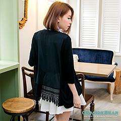 柔嫩系~橫紋開襟長版嚴選針織連帽罩衫/外套.3色