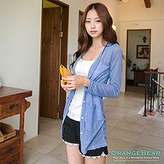 0408新品 輕巧可愛~糖果色系V領排釦透光感長版外套‧10色