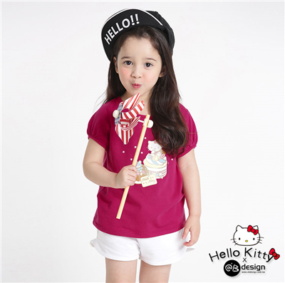 0415新品 KITTY柔軟快乾棉~甜點系列小熊蛋糕T恤‧童3色