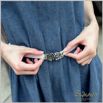 0128新品 優雅貴族~復古玫瑰造型細腰帶/腰封‧3色