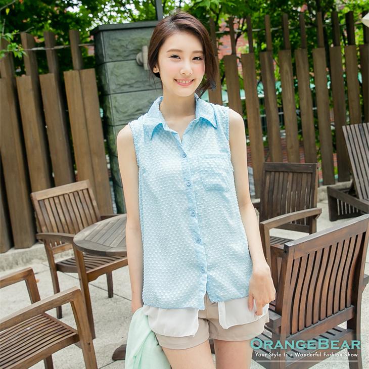 【夏日特賣】雪紡層次假兩件式無袖長版襯衫?2色