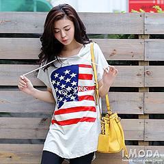 0919新品 美式街頭~美國旗圖案抽繩連帽長版T恤‧2色