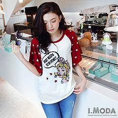 0917新品 活潑俏皮~美式漫畫人物撞色星星袖T恤‧2色
