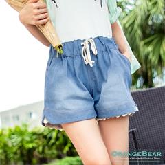 0919新品 甜美俏妞~蕾絲拼接抽繩綁帶刷色牛仔短褲‧2色