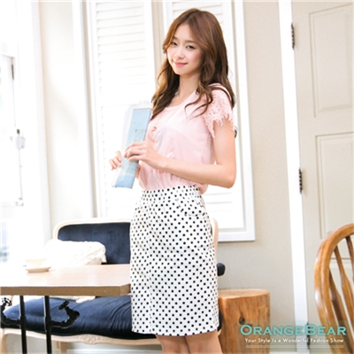 【春氛特賣】可愛甜心~滿版撞色設計圓點中長短裙‧3色