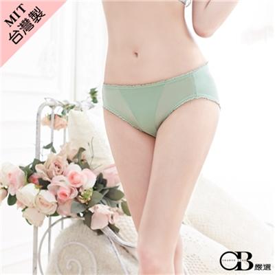 光滑細緻~蕾絲花邊亮澤低腰內褲‧台灣製‧2色