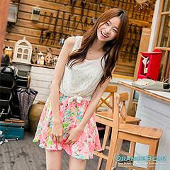 【午茶時光♥洋裝均一價】鏤空蕾絲扭結造型假兩件式印花無袖洋裝‧2色